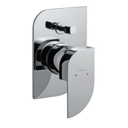 Jaquar Single Lever Exposed Parts Kit of High Flow Divertor , Wall Flange & Button Only (Metallic Silver)  ALI-CHR-85079K