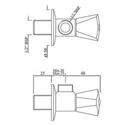 Jaquar Brass Angle Valve Cock (15 mm, Silver)  AQT-CHR-3057