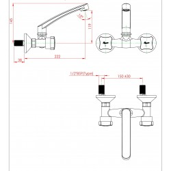 Parryware Jade Wall Mounted Sink Mixer - G0235A1