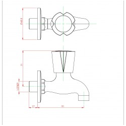 Parryware Diamond Bibcock With Wall Flange, G1804A1