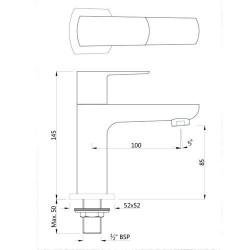 Jaquar Kubix Prime Brass Pillar Cock (Chrome Finish)  KUP-CHR-35001PM