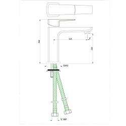 Jaquar Kubix Prime Chrome Single Lever Basin Mixer with 450mm Braided Hose, KUP-CHR-35011BPM