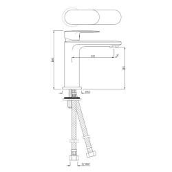 Jaquar Opal Prime Chrome Single Lever Basin Mixer with 450 mm Braided Hose, OPP-CHR-15011BPM