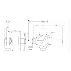 Parryware G0643A1 Parryware Agate Two Way BIB Cock Twin Elbow Valve Faucet  (Wall Mount Installation Type)   G0643A1