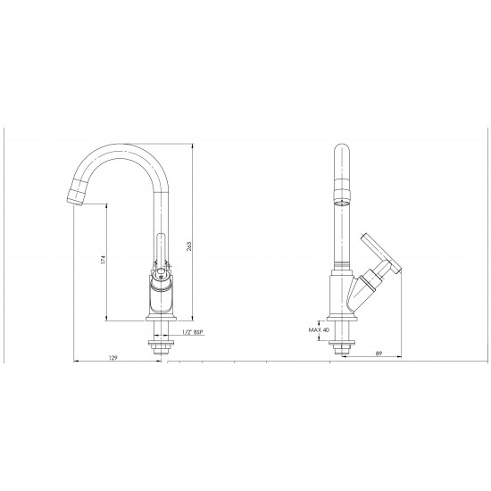 Parryware Agate Brass Sink Cock, Standard, Silver  G0621A1